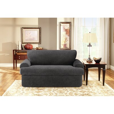 Stretch Pique T-Cushion Loveseat Slipcover Set Size: 36 H x 70 W x 36 D, Upholstery: Black