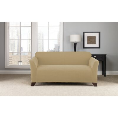 Box Cushion Loveseat Slipcover Upholstery: Khaki