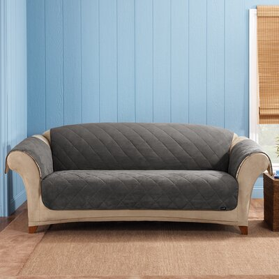 Box Cushion Sofa Slipcover Upholstery: Graphite/Cream