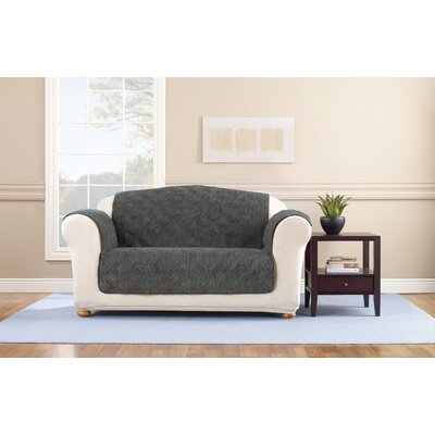 Box Cushion Loveseat Slipcover Upholstery: Graphite