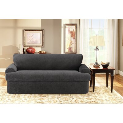 T-Cushion Sofa Slipcover Set Upholstery: Black