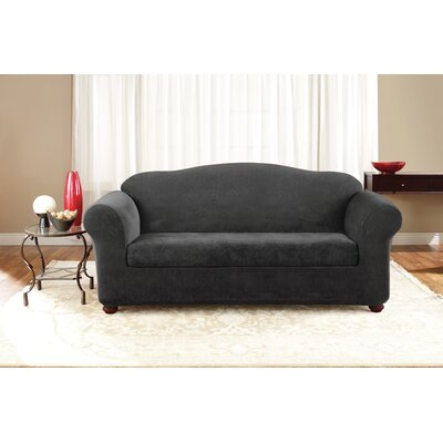 3 Piece Stretch Pique Polyester Sofa Slipcover Set Upholstery: Black
