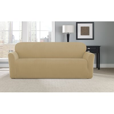 Stretch Modern Chevron Box Cushion Sofa Slipcover Upholstery: Khaki