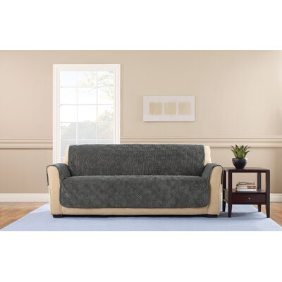 Wide Wale Corduroy Polyester Sofa Slipcover Upholstery: Graphite