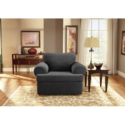 3 Piece Stretch Pique Polyester Armchair Slipcover Upholstery: Black