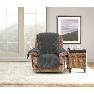 Wide Wale Box Cushion Recliner Slipcover Upholstery: Graphite