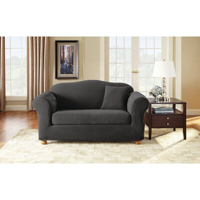 3 Piece Stretch Pique Polyester Loveseat Slipcover Set Upholstery: Black