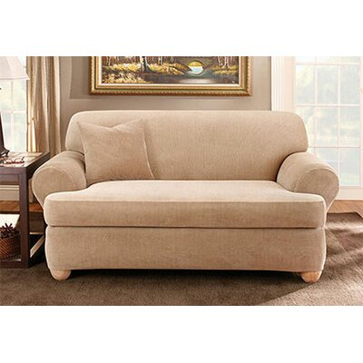 Stretch Stripe T-Cushion Sofa Slipcover Upholstery: Sand