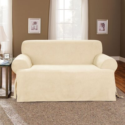 T-Cushion Soft Suede Polyester Sofa Slipcover Upholstery: Cream