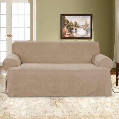 T-Cushion Soft Suede Polyester Sofa Slipcover Upholstery: Taupe