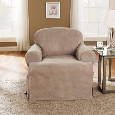 T-Cushion Soft Suede Polyester Armchair Slipcover Upholstery: Taupe