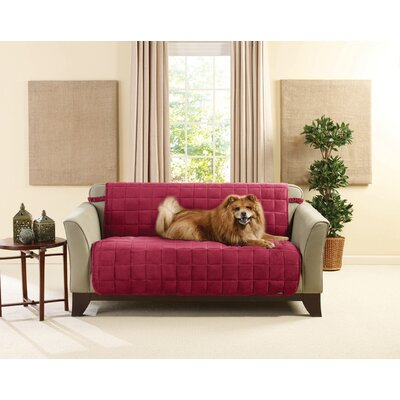 Deluxe Box Cushion Loveseat Slipcover Size: 4 H x 16 W x 16 D, Upholstery: Burgundy