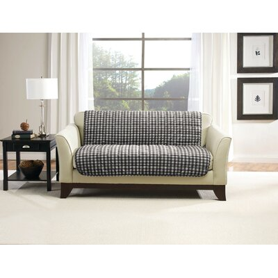 Deluxe Box Cushion Loveseat Slipcover Size: 4 H x 16 W x 16 D, Upholstery: Buffalo Plaid/Black