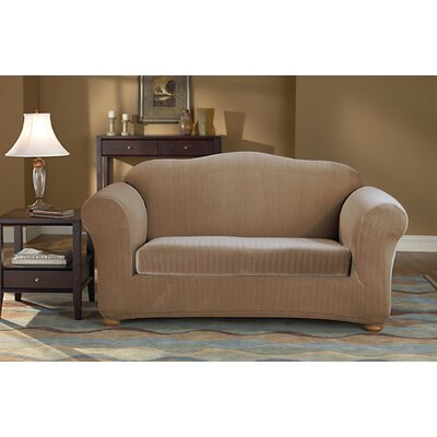 2-Piece Stretch Pinstripe Polyester Loveseat Slipcover Set