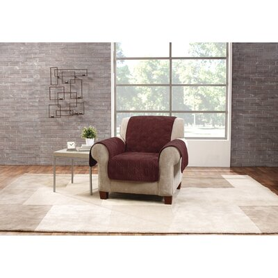 Deluxe Box Cushion Armchair Slipcover Upholstery: Wine