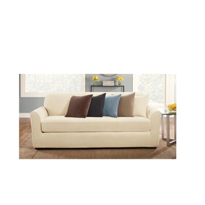 2-Piece Stretch Pinstripe Polyester Sofa Slipcover Set