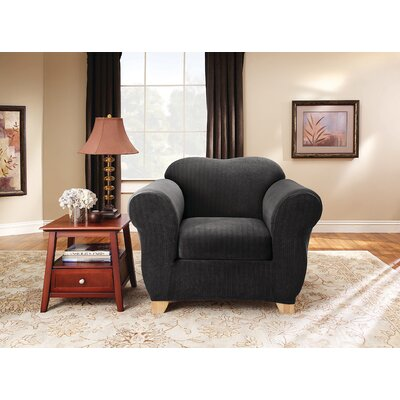 Stretch Pinstripe Box Cushion Armchair Slipcover