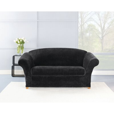 Box Cushion Loveseat Slipcover Set Upholstery: Black