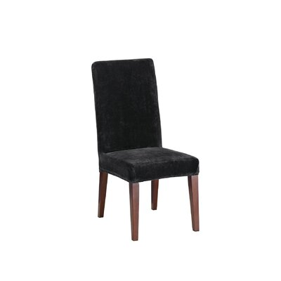 Stretch Plush Short Polyester Dining Chair Slipcover Upholstery: Black