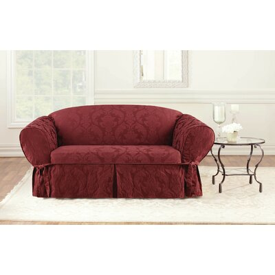 Matelasse Damask Box Cushion Loveseat Slipcover Upholstery: Chili