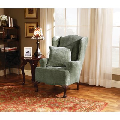 Strech Royal Diamond T-Cushion Wingback Slipcover Upholstery: Sage