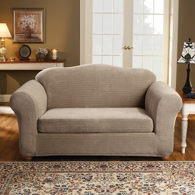 Royal Diamond Box Cushion Loveseat Slipcover Upholstery: Taupe
