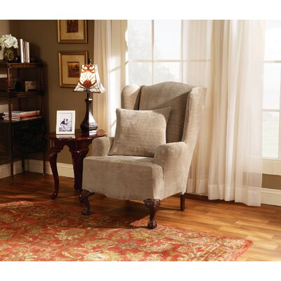 Strech Royal Diamond T-Cushion Wingback Slipcover Upholstery: Cream