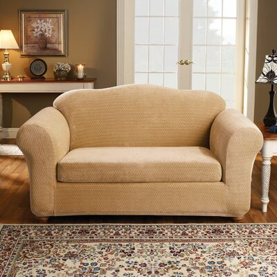 2 Piece Strech Royal Diamond Polyester Loveseat Slipcover Set Upholstery: Gold