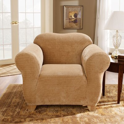 2 Piece Strech Royal Diamond Polyester Armchair Slipcover Set Upholstery: Gold