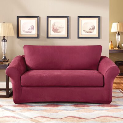 3 Piece Stretch Suede Polyester Loveseat Slipcover Set Upholstery: Burgundy