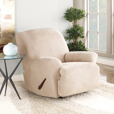 Stretch Suede T-Cushion Recliner Slipcover Upholstery: Oatmeal