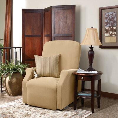 Stretch Pique Box Cushion Recliner Slipcover Upholstery: Cream, Size: Medium
