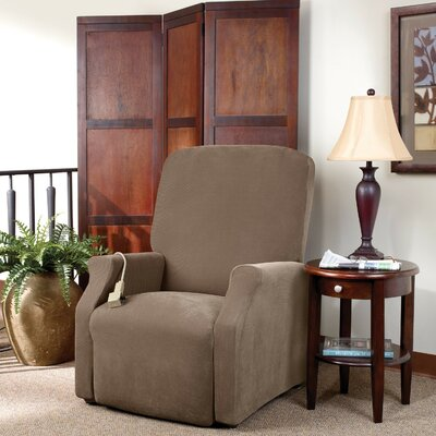 Stretch Pique Box Cushion Recliner Slipcover Upholstery: Taupe, Size: Medium