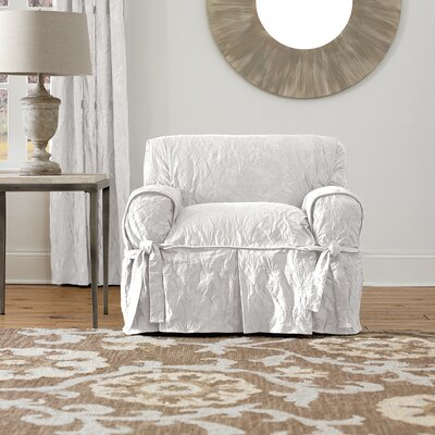 Matelasse Damask Box Cushion Armchair Slipcover Upholstery: White