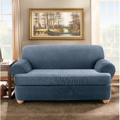 Stretch Stripe T-Cushion Loveseat Slipcover Upholstery: Navy