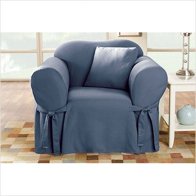 Cotton Duck Box Cushion Armchair Slipcover Upholstery: Bluestone