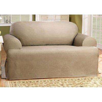 Cotton Duck Loveseat T-Cushion Slipcover Upholstery: Linen