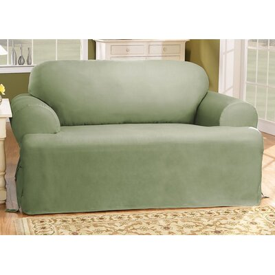 Cotton Duck T-Cushion Sofa Slipcover Upholstery: Sage
