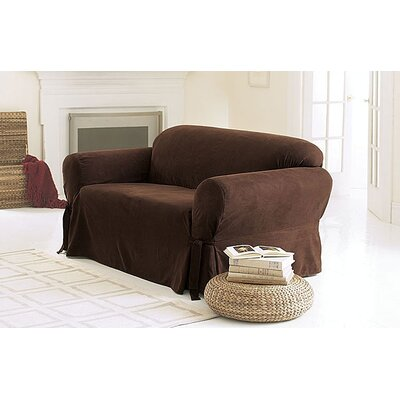 Soft Suede Sofa Slipcover Upholstery: Chocolate