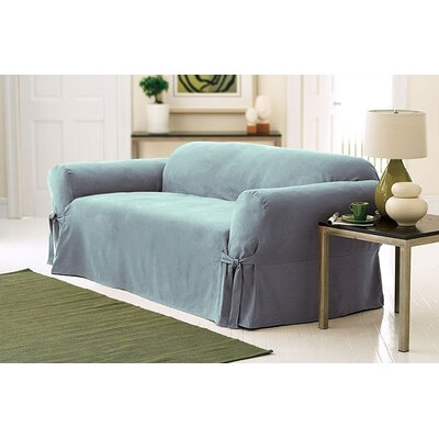 Soft Suede Loveseat Slipcover Upholstery: Smoke Blue