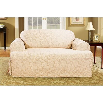 Scroll Classic Fit Sofa Slipcover Upholstery: Blue