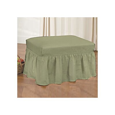 Cotton Duck Ottoman Slipcover Upholstery: Sage