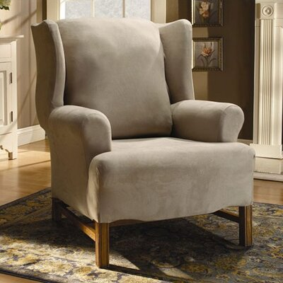 Stretch Suede Wing Chair T Cushion Slipcover Upholstery: Oatmeal