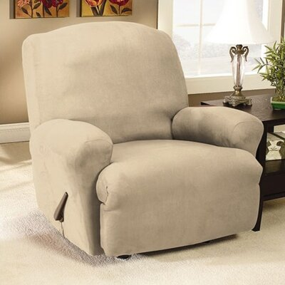 Stretch Faux Suede T-Cushion Recliner Slipcover Upholstery: Oatmeal