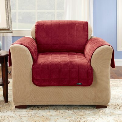 Deluxe Comfort Box Cushion Armchair Slipcover Upholstery: Burgundy