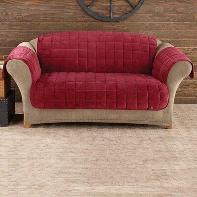 Deluxe Comfort T-Cushion Loveseat Slipcover Upholstery: Burgundy