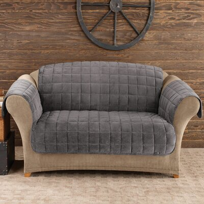 Deluxe Comfort T-Cushion Loveseat Slipcover Upholstery: Dark Grey