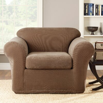 Stretch Metro Box Cushion Armchair Slipcover Upholstery: Brown