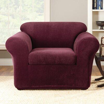 Stretch Metro Box Cushion Armchair Slipcover Upholstery: Burgundy