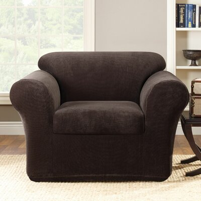 Stretch Metro Box Cushion Armchair Slipcover Upholstery: Espresso